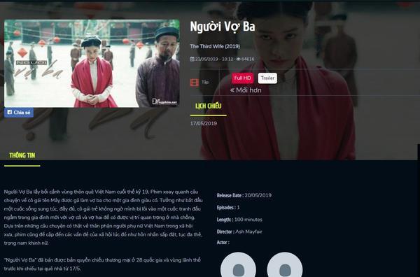 Bản phim Vợ ba full HD xuất hiện trên mạng.