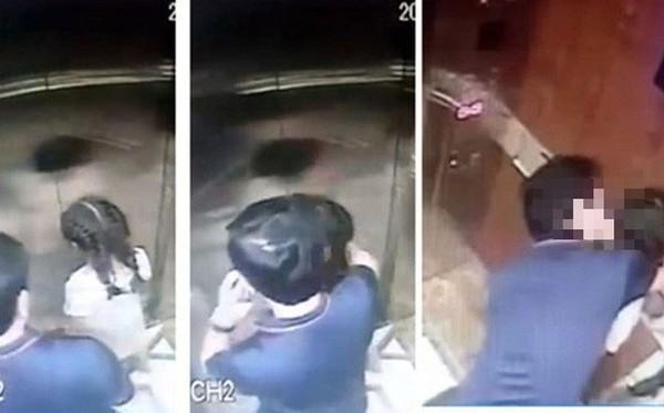 Đối tượng Nguyễn Hữu Linh sàm sỡ bé gái trong thang máy. Ảnh cắt từ clip.