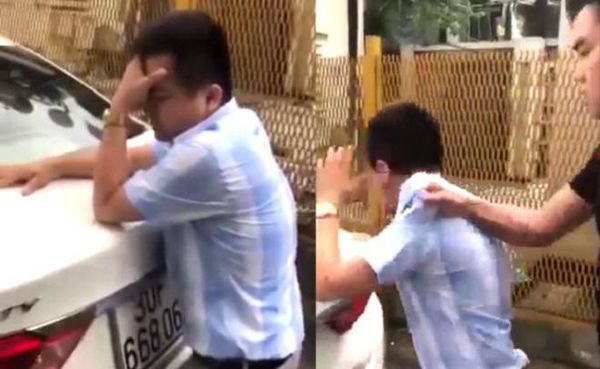 Hình ảnh nam giáo viên bị hành hung gây xôn xao.