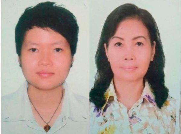 Phạm Thị Thiên Hà (bên trái) và Trịnh Thị Hồng Hoa (bên phải)