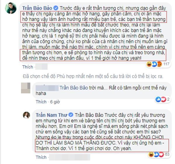"""BB Trần """"phản đối"""" Nam Thư hở hang và màn đối đáp khiến fan cười """"no nê""""."""