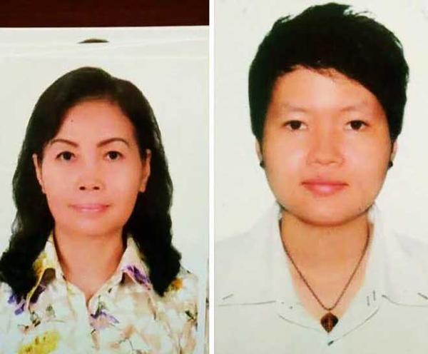 2 mẹ con nghi phạm Trịnh Thị Hồng Hoa vàPhạm Thị Thiên Hà (phải). Ảnh: Báo Dân Việt
