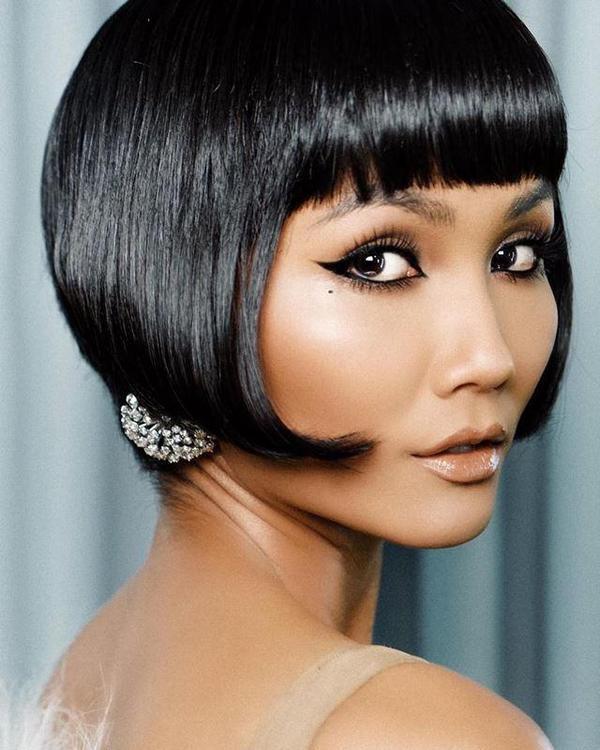 Hoa hậu người Ê đê hóa cô gái quý tộc, sang trọng với kiểu tóc bob đen ánh.