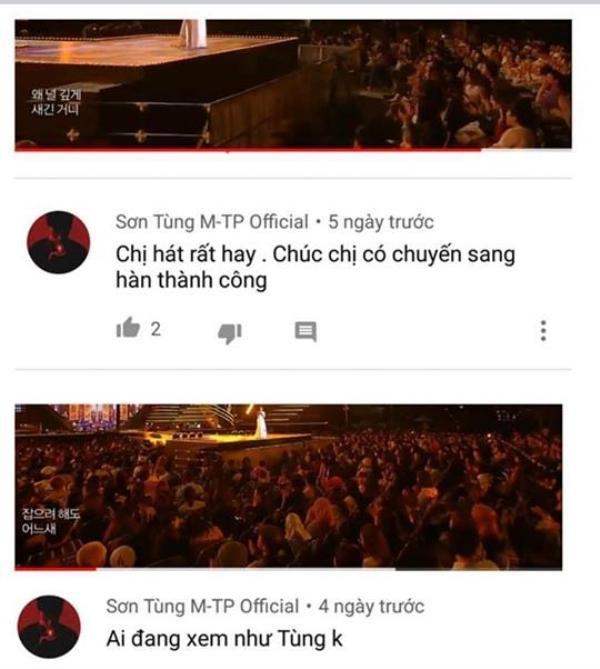 Hình ảnh bình luận của kênh YouTube được cho là từ Sơn Tùng M-TP.