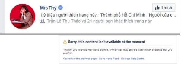 Trang cá nhân của MisThy đã không thể truy cập tuy nhiên trang fanpage của cô nàng vẫn hoạt động bình thường.