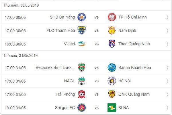 Lịch thi đấu vòng 12 V.League 2019