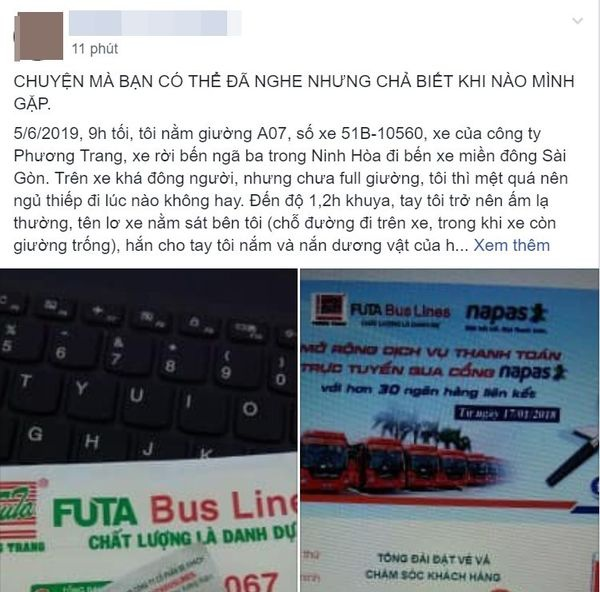 Bài đăng của cô gái tố bị phụ xe sàm sỡ trên Facebook