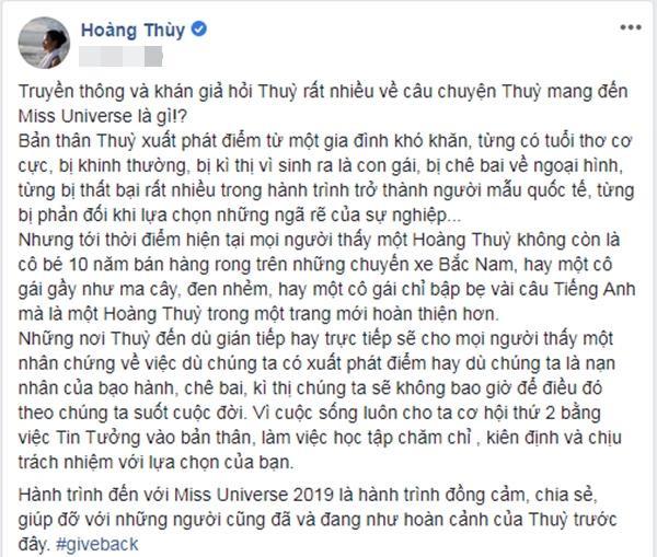 Hoàng Thùy chia sẻ cô liên tục được hỏi về dự án ý nghĩa mang đến Miss Universe 2019.