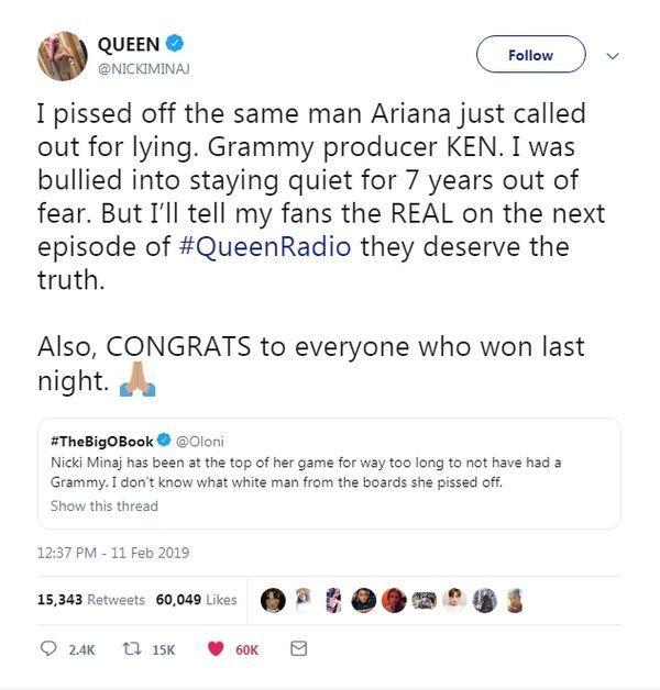 """Trên mạng thì hùng hổ là vậy nhưng tới hôm nay Nicki Minaj mới dám """"bốc phốt"""" Grammy."""