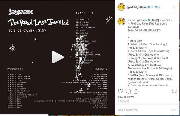 Album chính thức của Jay Park có tênThe Road Less Traveled, hợp tác với hơn 35 nghệ sĩ.