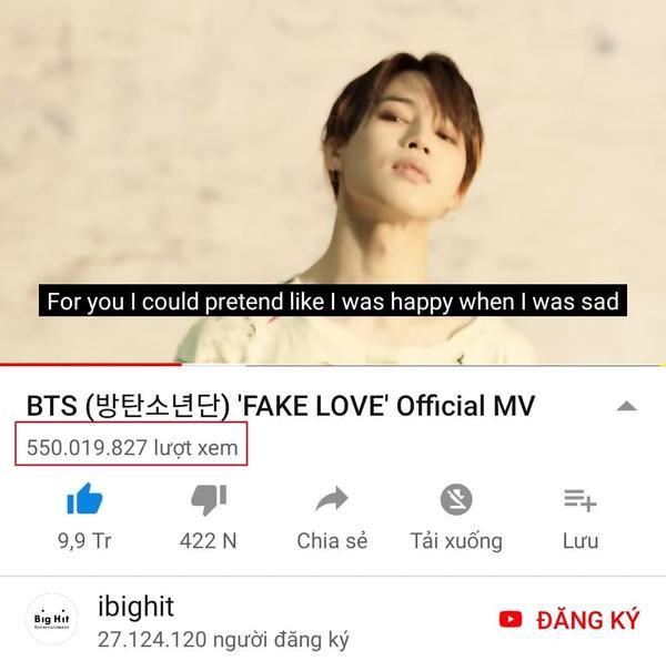 MV Fake Love đạt 550 triệu views sau 1 tháng 13 ngày ra mắt và trở thành MV của một nhóm nhạc nam Kpop chạm tới con số này nhanh nhất.