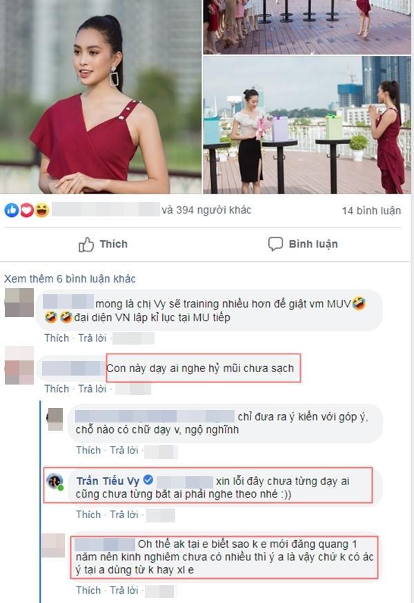 Đọc được bình luận vô lý, Tiểu Vy ngay lập tức đáp trả anti-fan.