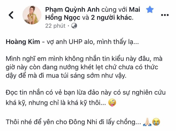 Bi fan giả danh lừa đảo, Phạm Quỳnh Anh nhẹ nhàng đáp trả: 'Để yên cho Đông Nhi đi lấy chồng'.