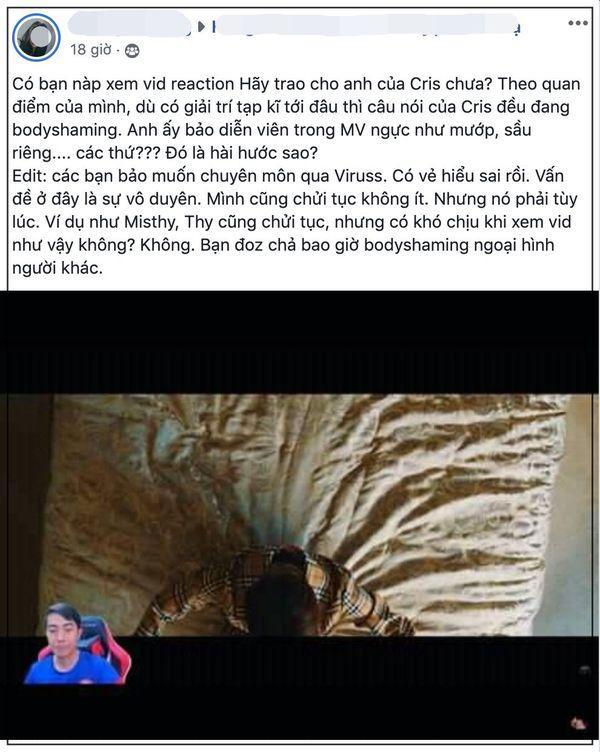 Sau khi bị chỉ trích vì bodyshaming MV Hãy Trao Cho Anh (Sơn Tùng M-TP), Cris Phan lên tiếng xin lỗi ảnh 1