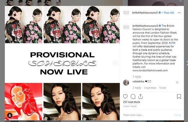 Hình ảnh và bài post chính thức về việc bán vé để tham dự Tuần lễ thời trang London diễn ra trong tháng 9 năm nay