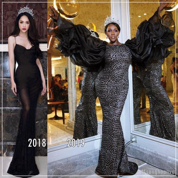 Bộ cánh củaJazell Barbie Royale được khán giả mang ra so sánh với thiết kế đen xuyên thấu của Hương Giang.