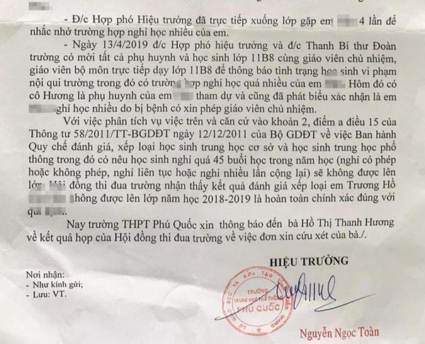 Văn bản của Hiệu trưởng nhà trường trả lời về vụ việc xảy ra tại trường THPT Phú Quốc (Kiên Giang)