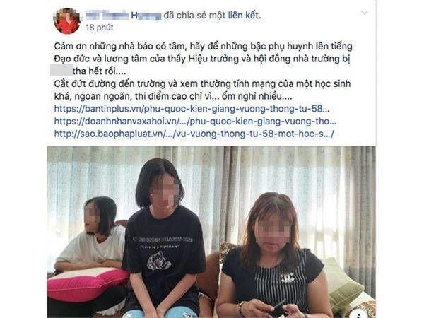 Nội dung được đăng tải trên Facebook cá nhân của bà H