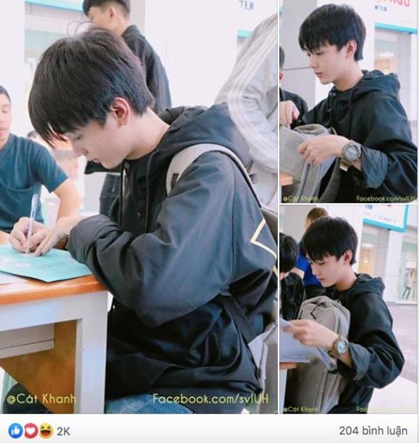 Những hình ảnh chụp lén nam sinh Đak Nông trong ngày đầu làm thủ tục nhập học. Nguồn: SV IUH.