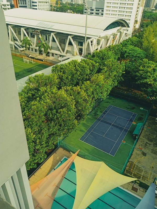 Cây xanh phủ mát sân vận động của trường.