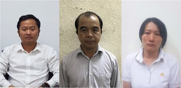Các bị can Hòa, Quang, Thùy (từ trái qua) – Ảnh: TTO.