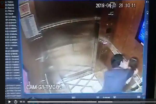 Người đàn ông sàm sỡ bé gái trong thang máy ở Sài Gòn. (Ảnh cắt từ clip).
