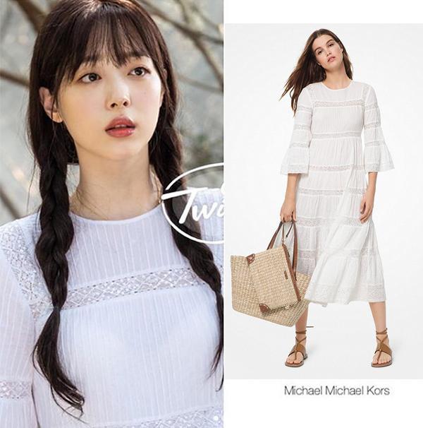 Nếu các set đồ ở trên toàn giá chục triệu thì trong kiểu váy trắng dài hao hao maxi này của Michael Kors với giá mềm chỉ 325 USD (tầm 7,5 triệu đồng)
