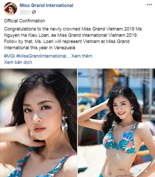 Miss Grand International xác nhận đại diện Việt Nam là Nguyễn Hà Kiều Loan.