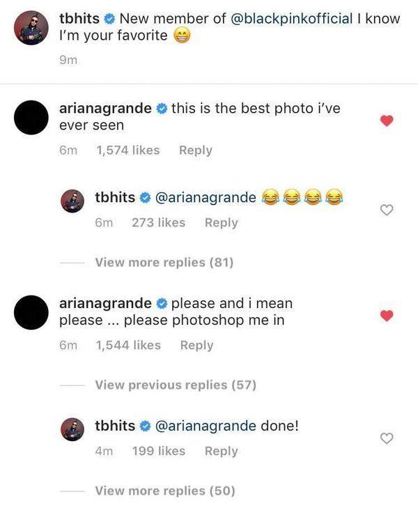"""Ariana Grande sau đó đã """"tị nạnh"""" và muốn được xuất hiện trong bức ảnh đó."""