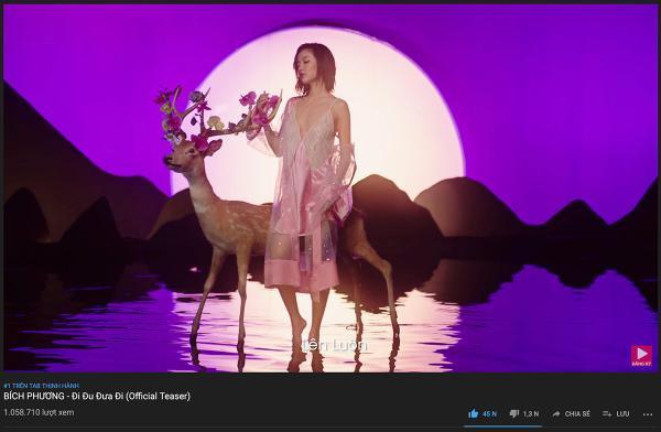 Teaser MV của Bích Phương đã nhanh chóng cán mốc triệu view và đạt vị trí #1 top trending Youtube.