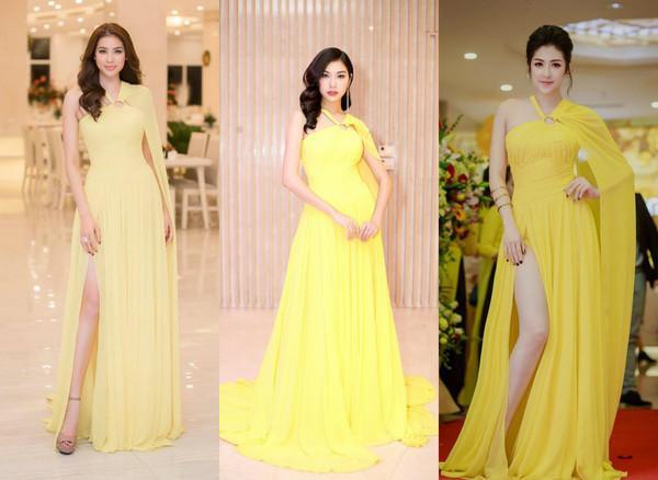 Cũng trong thiết kế tông vàng chanh rực rỡ, Phạm Hương - Thúy Vân - Tú Anh đẹp mỗi người một vẻ mười phân vẹn mười.