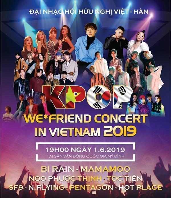Kpop Concert từ đầu năm đã thông báo nghệ sĩ Kpop góp mặt đó là Bi Rain, Mamamoo,…