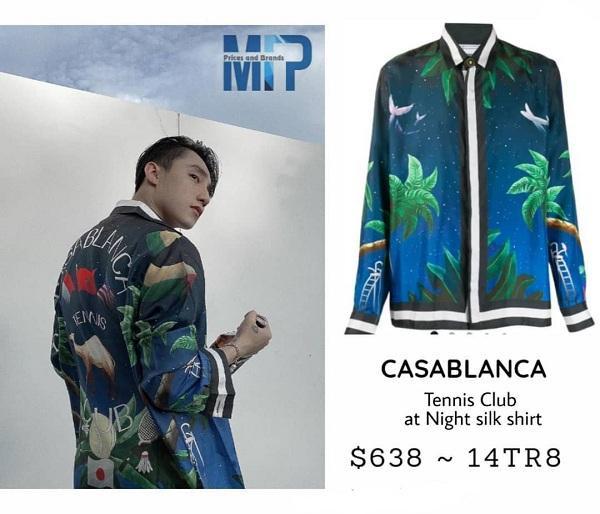 Áo chất liệu silk, họa tiết lá cây cảnh với gam màu sắc nổi bật của Casablanca có giá 14 triệu 800 đồng. Toàn là những items đắt đỏ đến từ những thương hiệu cao cấp