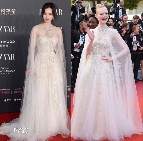 Bà mẹ một con Lưu Thi Thi khiến ai cũng đắm say trong bộ váy trắng cúp ngực cùng lớp voan mỏng xuyên thấu thướt tha đến từ REEM ACRA, đây cũng là thiết kế mà Thần tiên Hollywood Elle Fanning mặc lúc cô dự LHP Cannes hồi tháng 5