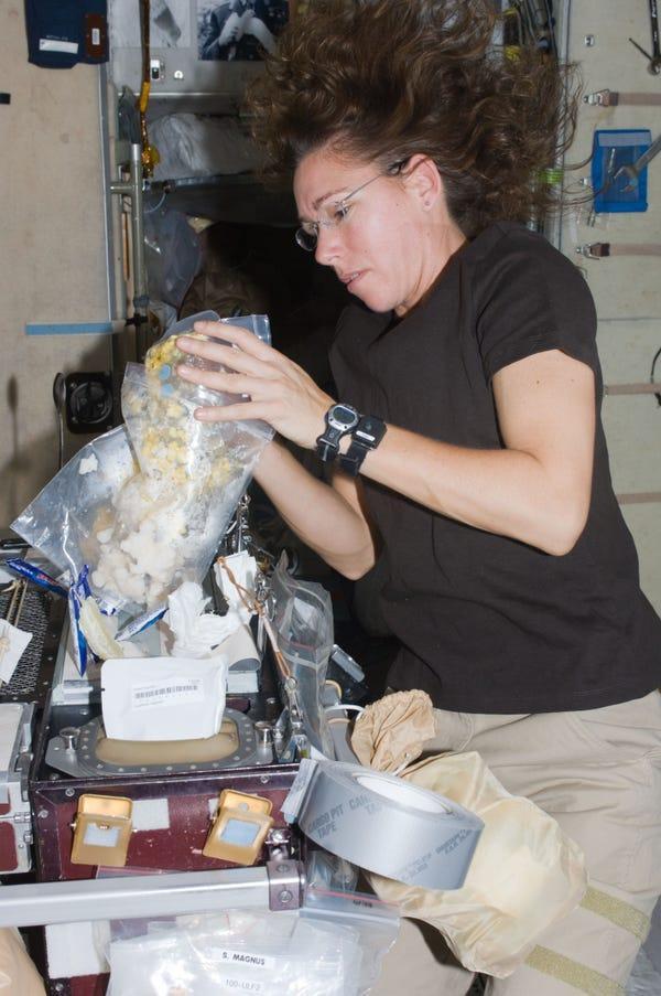 Thật khó để được ăn gà quay trên trạm ISS song các phi hành gia vẫn cố gắng để có một bữa tối Giáng Sinh đúng nghĩa. Năm 2018, vào dịp Giáng Sinh, các phi hành gia có một con gài tây hun khói, mứt, ngô, đậu xanh, phô mai và khoai tây. Món tráng miếng sau đó gồm cố dâu tây, bánh bơ và bánh quy. Bữa tối thịnh soạn này được chuyển lên ISS một vài tuần trước đó. Năm nay, Giáng sinh trên ISS có gà tây, cam và bơ lạc cùng với đó là đồ chua, bánh quy và bánh trái cây.
