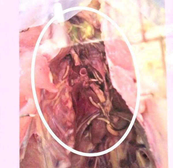 Hình ảnh sinh vật lạ trong thịt gà do phụ huynh cung cấp. Ảnh: báo VTC News