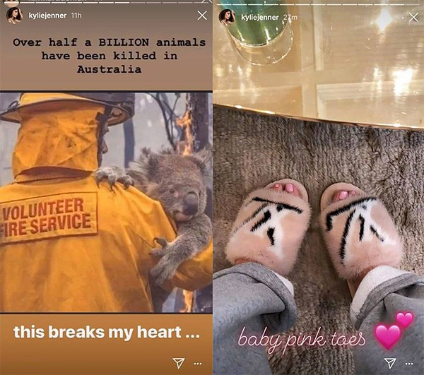 Sau bài post tiếc thương động vật chết cháy tại Úc thì ngay sau đó Kylie up hình mang dép chất liệu lông chồn của nhà Louis Vuitton gây tranh cãi dữ dội