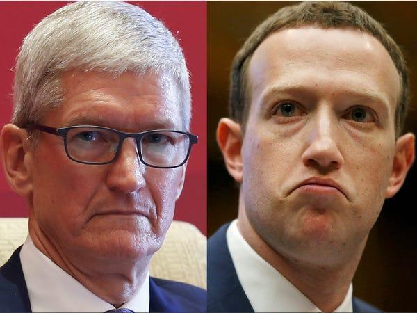 Tim Cook và Mark Zuckerberg có nhiều quan điểm khác nhau. (Ảnh: BI)