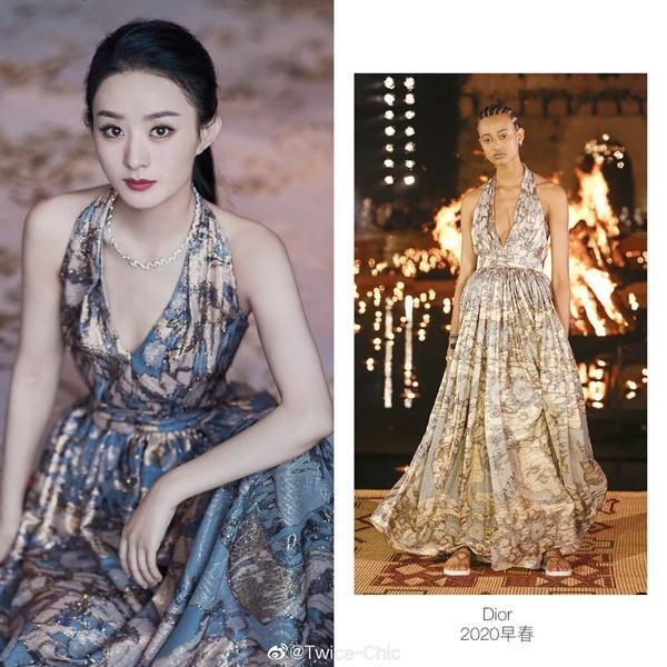 Vợ của Phùng Thiệu Phong đã xuất sắc khi diện chiếc váy tung xòe xẻ ngực khiêm tốn đến từ BST Dior Cruise Show 2020