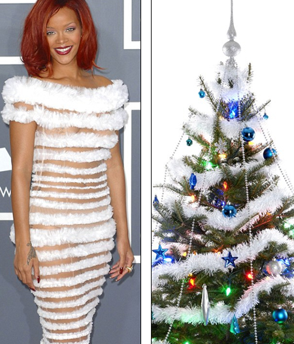Tương tự, Rihanna nổi bần bật với trang phục body gợi cảm. Những dải bèo nhún màu trắng đan xen với lưới xuyên thấu và mái tóc đỏ rực giúp nữ ca sĩ có được vẻ ngoài vô cùng quyến rũ trong ngày lễ đặc biệt này