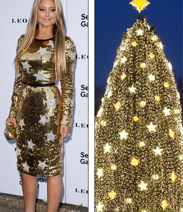 Holy Valance thật biết cách nổi bật khi chọn cho mình chiếc đầm body phủ đầy sequin và những ngôi sao