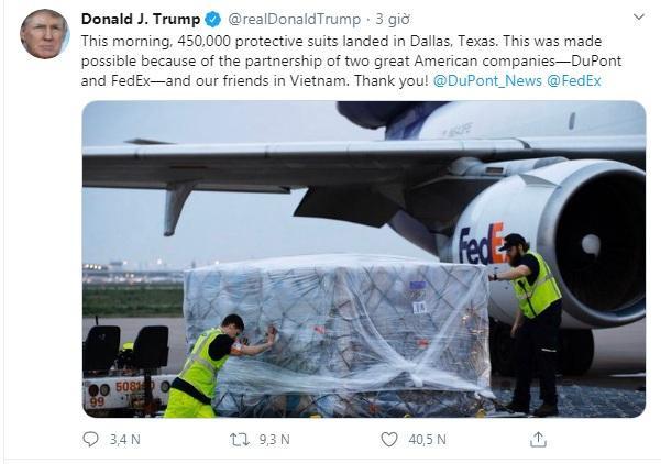 Tổng thống Donald Trump gửi lời cảm ơn tới Việt Nam sau khi nhận lô hàng đồ bảo hộ.