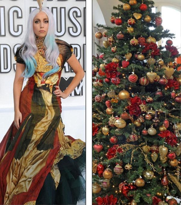 Chẳng hổ danh là những sao nữ có gout thời trang độc nhất, dù hóa thân thành cây thông thì Lady Gaga cũng phải nổi bật như thế này mới chịu!
