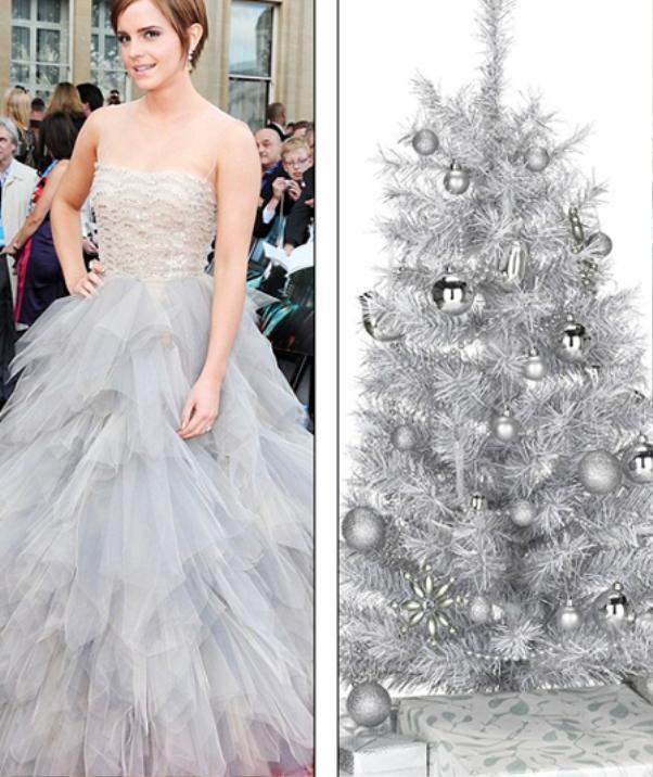 Emma Watson nổi bật trong chiếc đầm trắng cúp ngực. Chỉ cần gắn thêm vài quả châu lấp lánh thì chiếc váy của cô nàng trông sẽ chẳng khác gì với cây thông trắng.