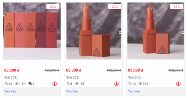 """Ngay cả trên nhiều website mua bán lớn, son fake 3CE vẫn được bày bán vô tư với mức giá rẻ tới """"giật mình""""!"""