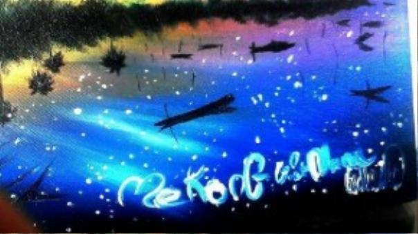Bức tranh phong cảnh vẽ Mê Kông Việt Nam của Châu được nhiều người đặt mua.