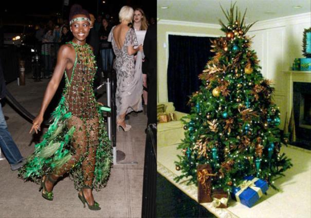 Cô nàng này lại duyên dáng với chiếc váy độc đáo. Sự kết hợp mới lạ giữa đan lưới và lông vũ của 2 màu xanh - nâu tạo nên tổng thể vô cùng thu hút