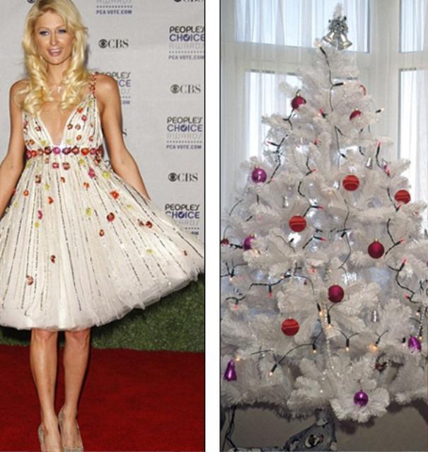 Paris Hilton thì chọn cho mình chiếc đầm ngắn tinh khôi và nhấn nhá bằng những dải hạt màu nổi bật như các bóng đèn màu sắc
