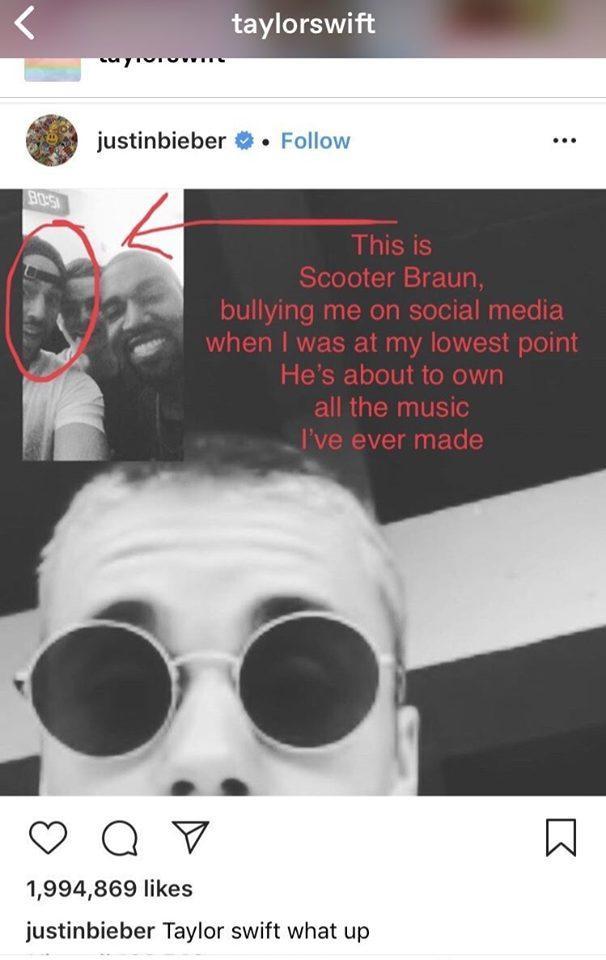"""Taylor Swfit dùng chính bức ảnh Justin Bieber, Kanye West, Scooter Braun,… """"bắt nạt"""" cô để phản đối bản hợp đồng vô lý kia."""