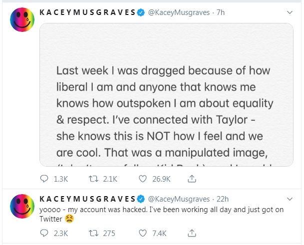 Những dòng tweet đính chính lại sự việc của Kacey.